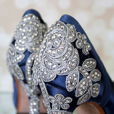 Navy Blue Vintage Inspired Wedding Shoes with Crystal Rose Heel - Ellie Wren