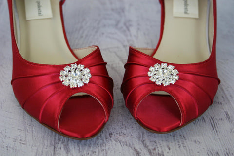 Red Low Heel Wedding Shoes with Simple Sparkly Crystal Brooch - Ellie Wren