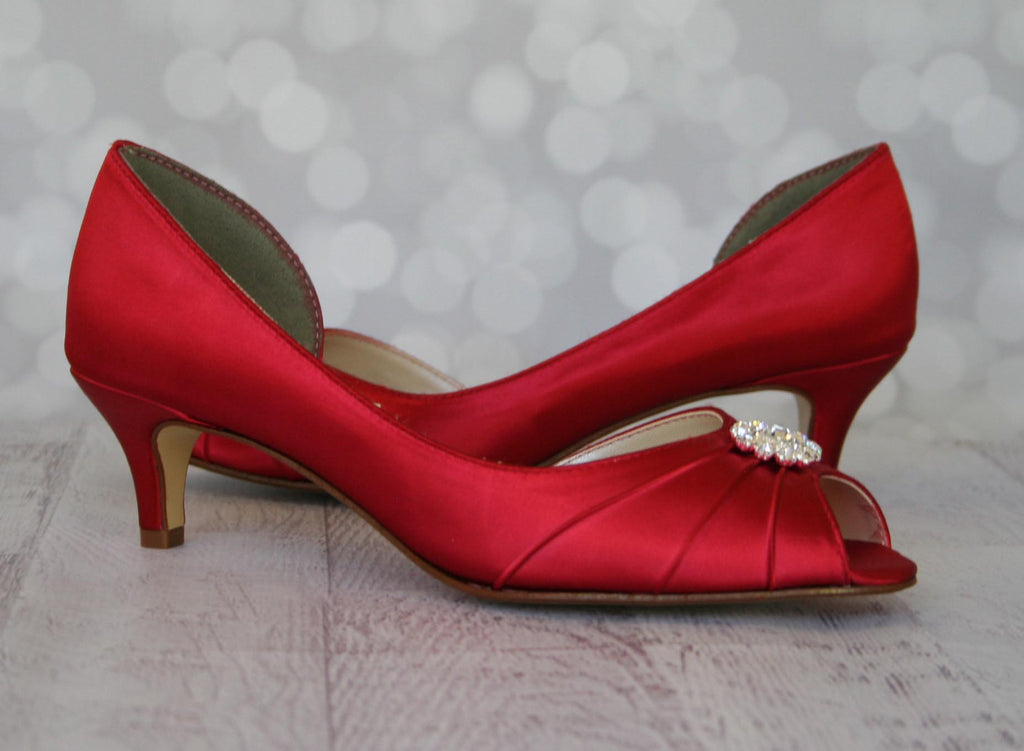 1dc27602182 Red Low Heel Wedding Shoes with Simple Sparkly Crystal Brooch