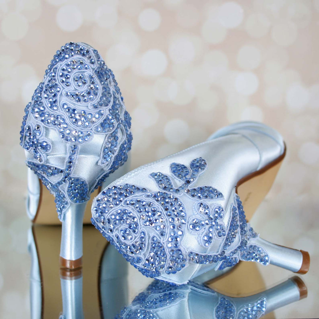 Robins' Egg Blue Ida Wedding Shoes with Blue Crystal Rose Heel (Color May Be Customized) - Ellie Wren