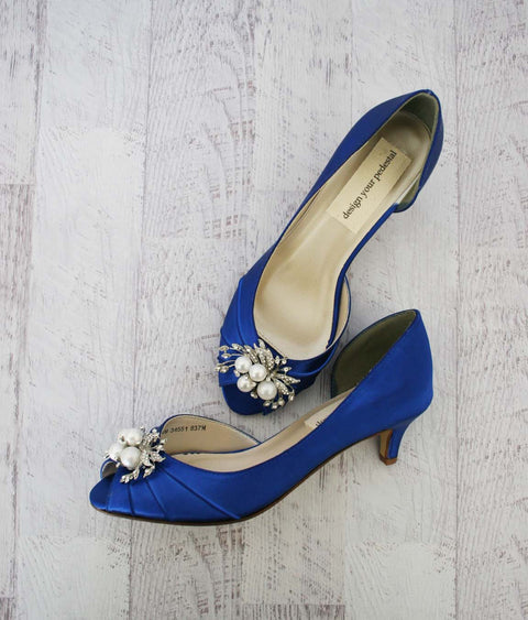 Royal Blue Open Toe Low Heel Wedding Shoes with Crystal and Pearl Brooch - Ellie Wren