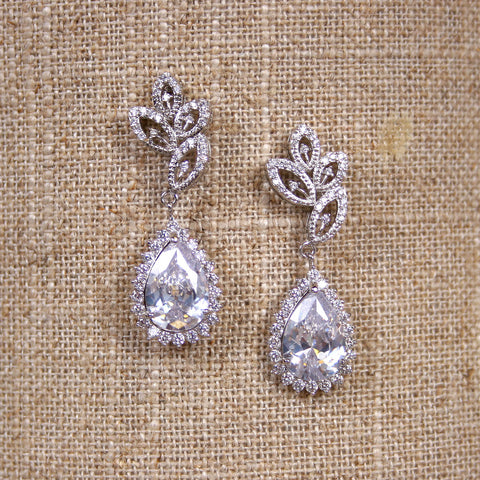 Silver Crystal Drop Earrings - Ellie Wren