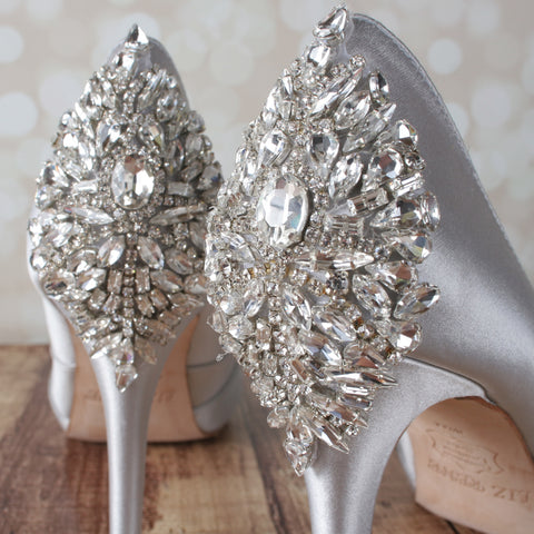 Silver Open Toe Platform Wedding Shoes with Sparkly Silver Crystal Heel - Ellie Wren