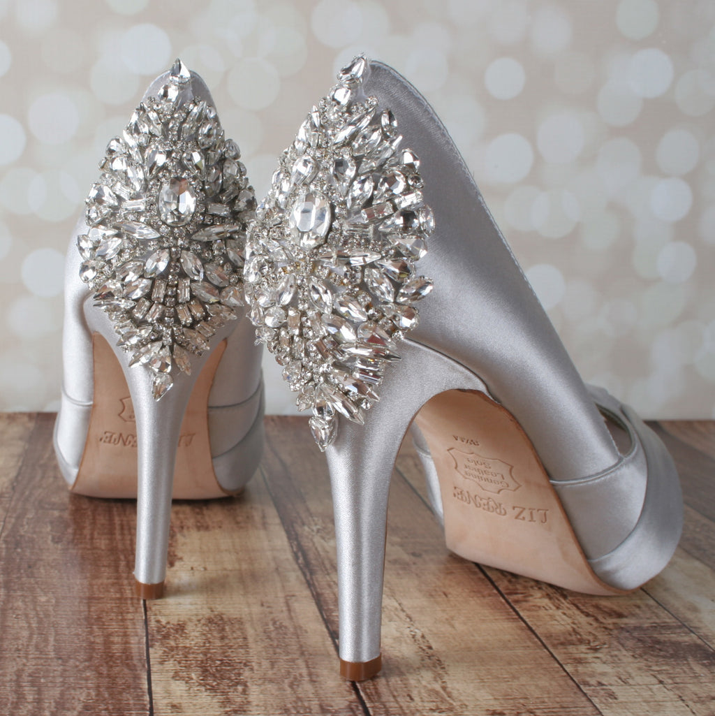 Silver Wedding Shoes.Silver Open Toe Platform Wedding Shoes With Sparkly Silver Crystal Heel