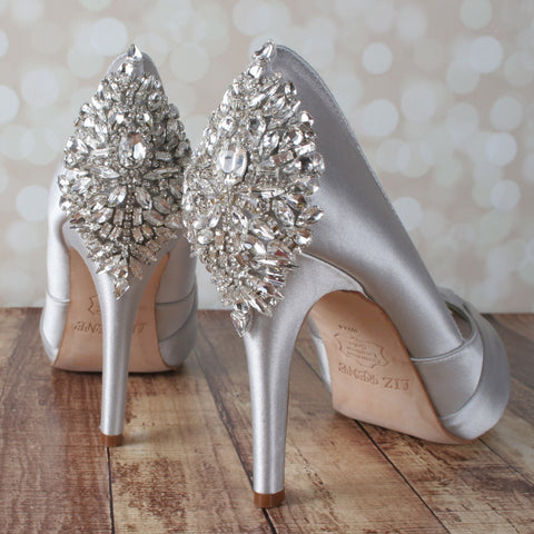 Mackenzie Wedding Shoes with Silver Crystal Applique - Ellie Wren