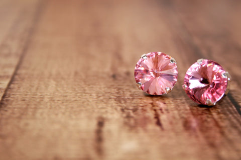Light Rose Swarovski Crystal Earrings - Ellie Wren