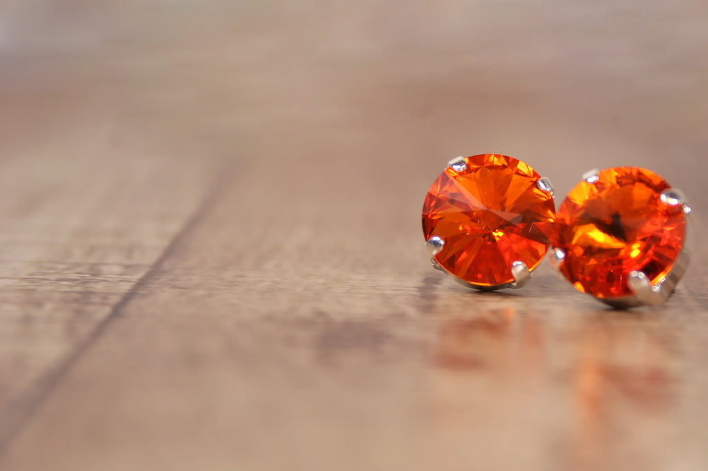 Tangerine Swarovski Crystal Earrings - Ellie Wren