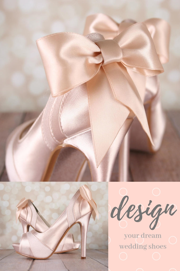 4f65fbb128f1a Blush Open Toe Platform Wedding Shoes with Matching Bow