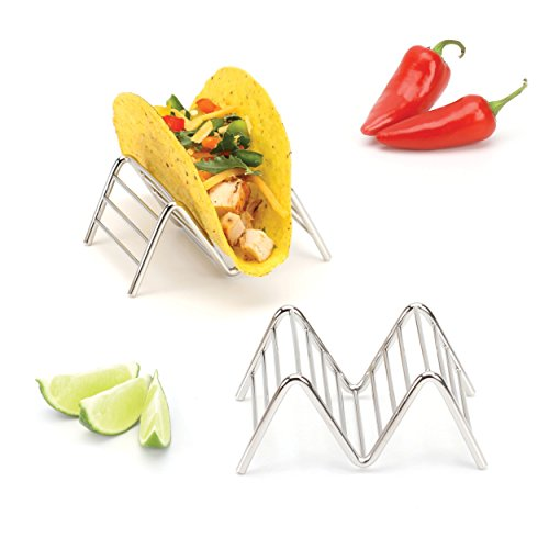 Taco Holder Stand, Each Rack Holds 1 or 2 Hard or Soft Shell Tacos, Premium 18/8 Stainless Steel Metal Trays, Dishwasher Safe, Set of Two by 2LB Depot