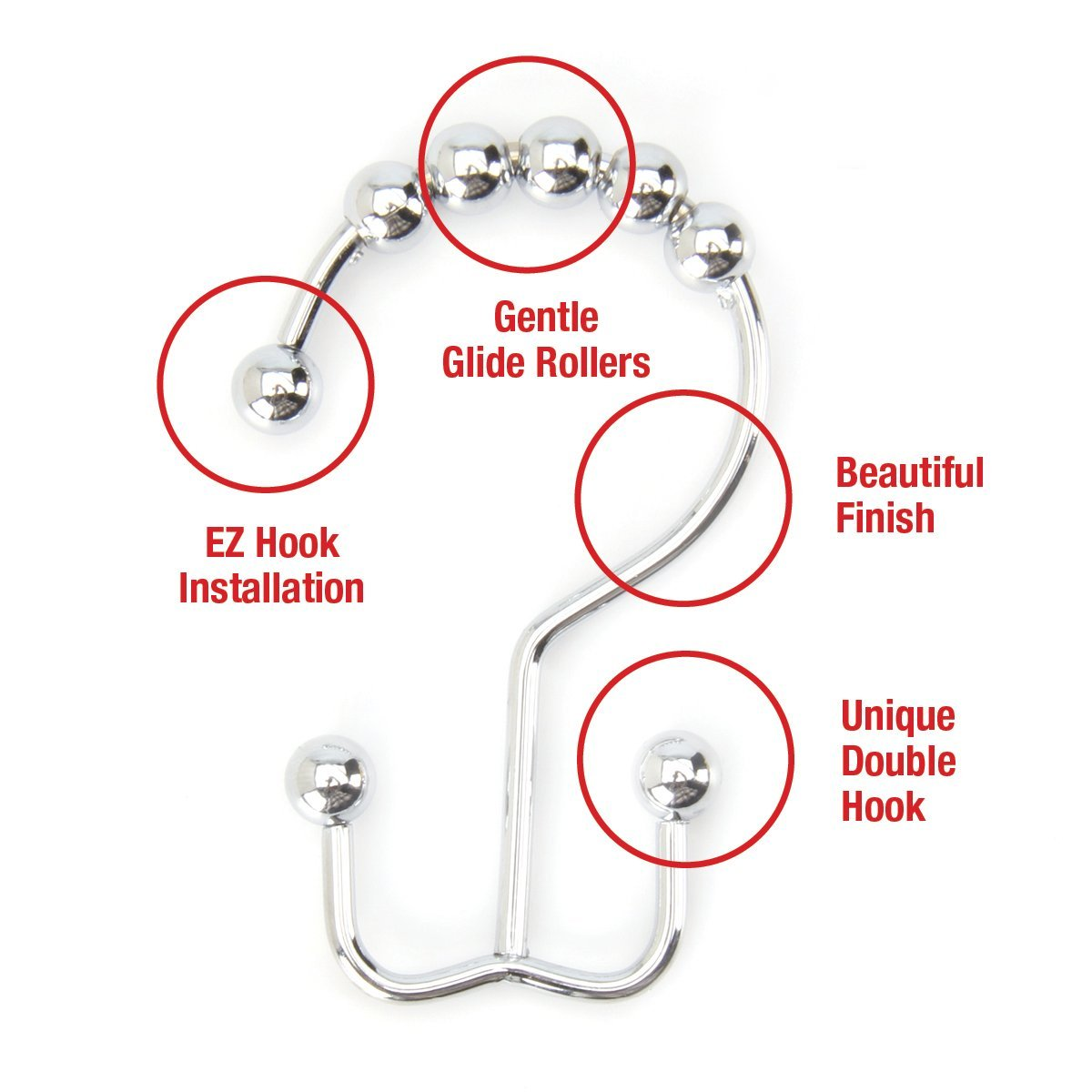 Polished Chrome Double Hook Shower Curtain Hooks Shower Curtain Rings Set 12 Pack Stainless Steel