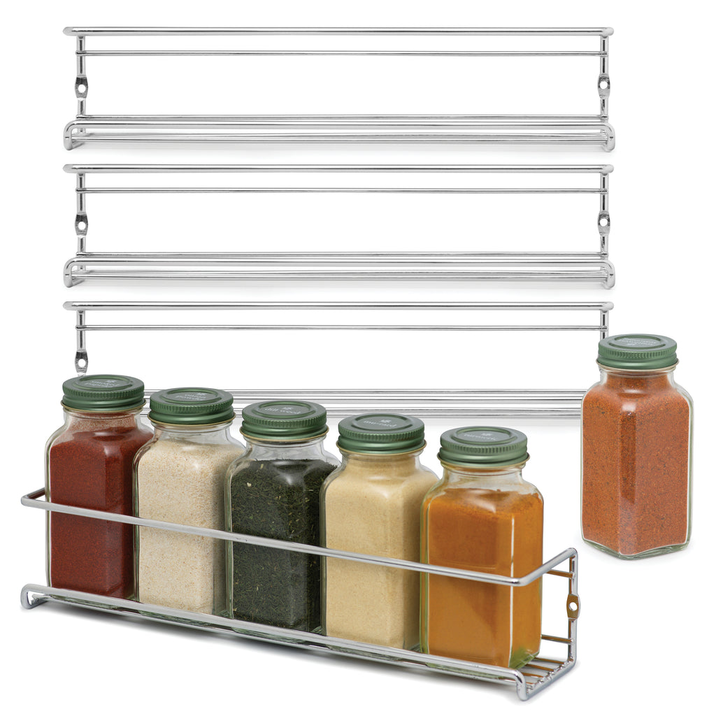 Set of 4 Space Saving Spice Racks – Stylish Chrome Spice Holder for Wall Mounting, Kitchen Cabinets or the Pantry – Easy Install Spice Storage for Kitchen Organization