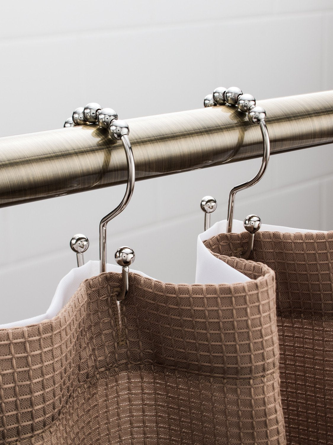... Polished Nickel Double Hook Shower Curtain Hooks / Shower Curtain Rings  Set (12 Pack) ...