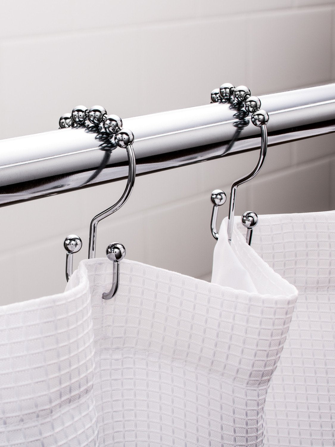 Polished Chrome Double Hook Shower Curtain Hooks / Shower Curtain Rings Set  (12 Pack)   Stainless Steel