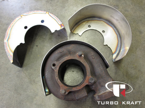 TurboKraft's stainless turbocharger turbine heat shield for Garrett GTR  midframe turbochargers