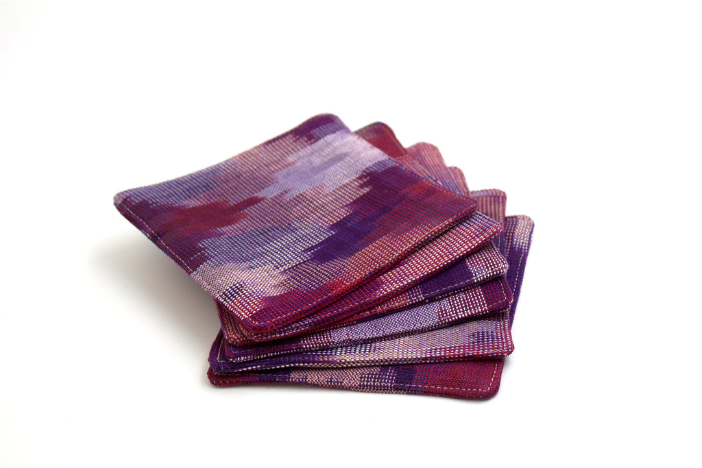 Ikat Diamond Coasters in Royale Purple - Set of 6