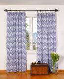 Blue Ikat Curtain Panel