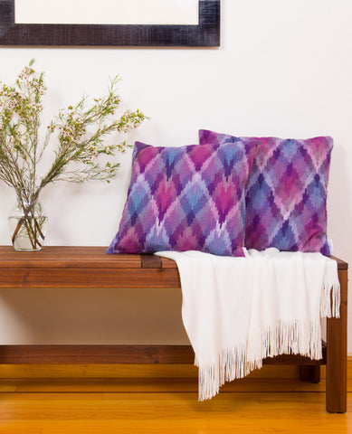 Ikat Diamonds Throw Pillow in Burgundy + Purple