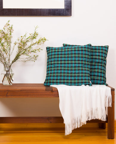 Madras Plaid Throw Pillow / Floor Pillow