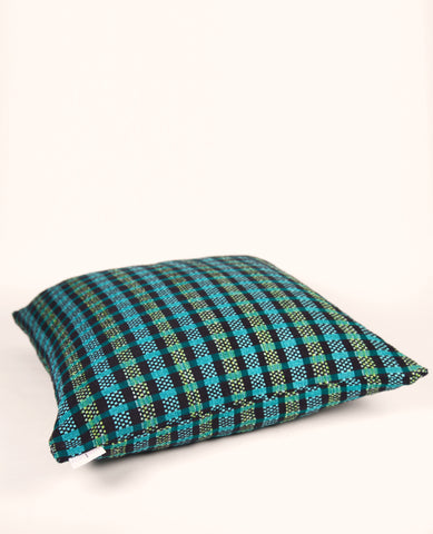 Madras Plaid Throw Pillow in Emerald Green + Black