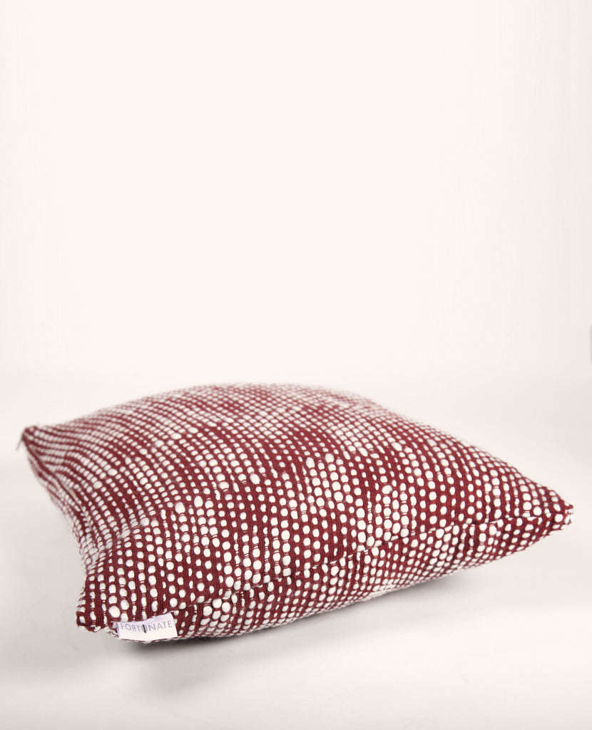 Puffy Pearls Euro Pillow in Ivory + Red
