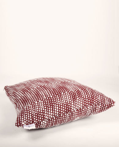 Puffy Pearls Throw Pillow in Ivory + Red