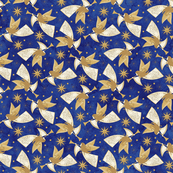 Angels Above Stonehenge Blue with Gold and White Metallic Stars and Angels 22891M-49