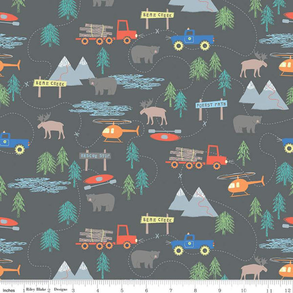 Designer Flannel Forest Scene Gray Riley Blake