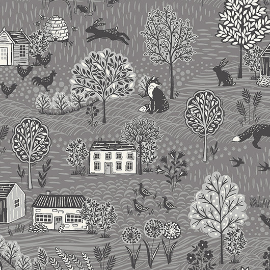 Grove by Makower UK Scenic Grey Color S7 Fabric
