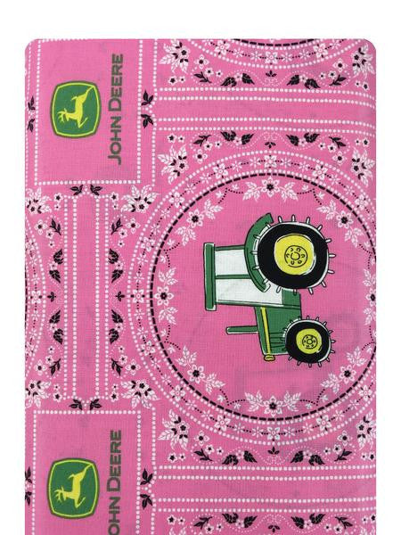 John Deere Bandana Tractor on Pink Fabric