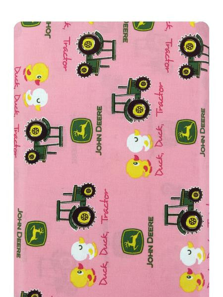 John Deere Duck, Duck, Tractor on Pink Fabric