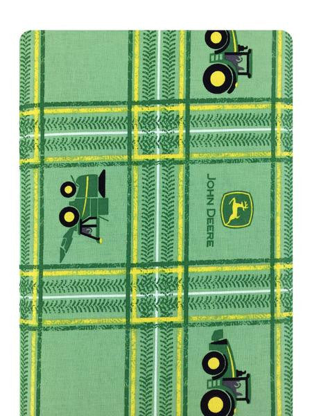 John Deere Tractor Plaid on Green Fabric
