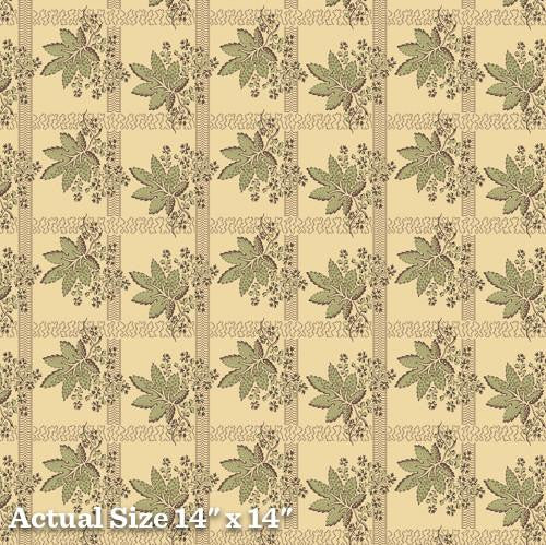 Pheasant & Traceries Green Leave Bunch Fabric A-8294-G