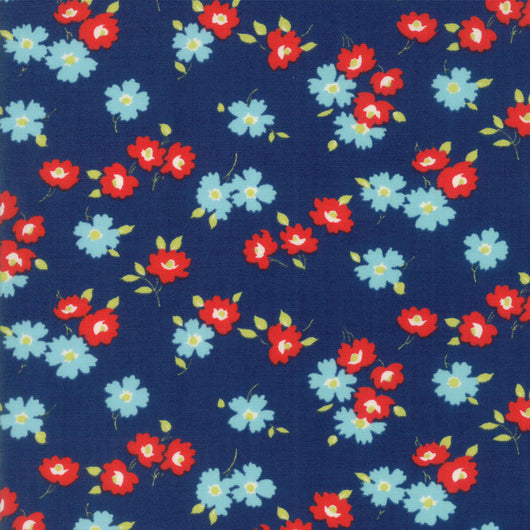 Sunday Drive True Blue Floral Fabric 43071 16