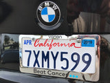 """Beat Cancer"" Solid Brass License Plate Frame"