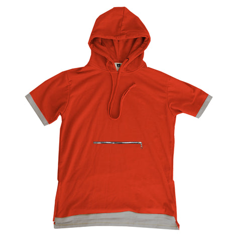 "Red ""Terrier"" bamboo knit short sleeve hoodie"