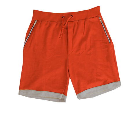 "Red  ""Dorset"" bamboo knit Jogger shorts"