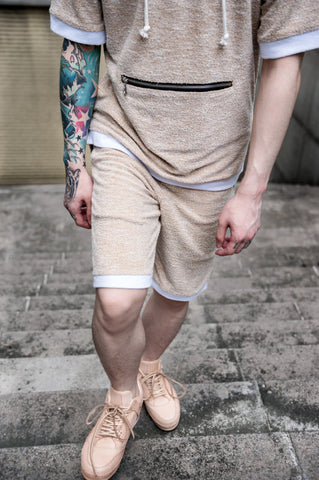 "Oxford Tan ""Dorset"" bamboo knit Jogger shorts"