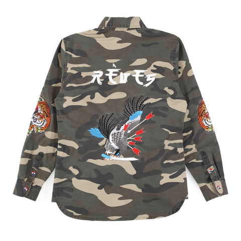 "Camo Embroidered ""Flux"" Button Shirt"