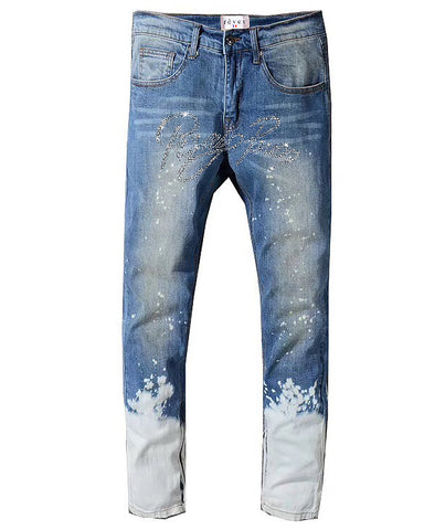 Bleached Reves Paris Script Denim