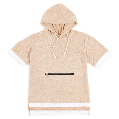 "Oxford Tan""Terrier"" bamboo knit short sleeve hoodie"