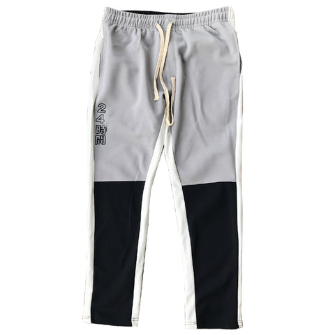 "WHITE/BLACK/GREY ""YABAI"" TRACK PANTS"