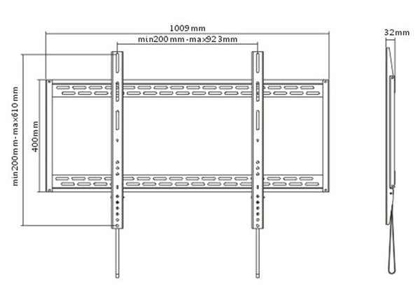 "Fixed Low Profile Black Wall Mount for 60"" - 100"" TVs (WM85)"