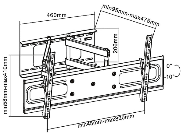 WM9381B Full Motion TV Wall Mount Dimensions Image
