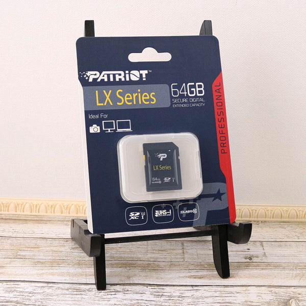 Patriot LX 64GB SDXC Class 10 UHS-I Memory Card in packaging