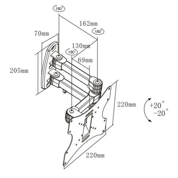 Wall mount dimension image for WM223B