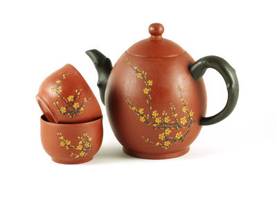 Red Oval Blossom Yixing Tea Set