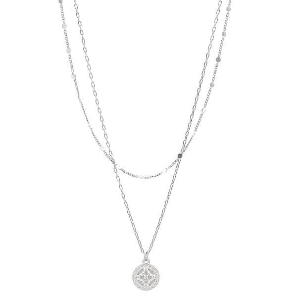 Silver Mosaic Coin Necklace