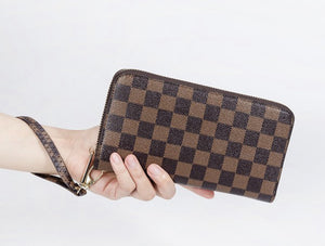 Checkered Wallet with Wristlet Strap