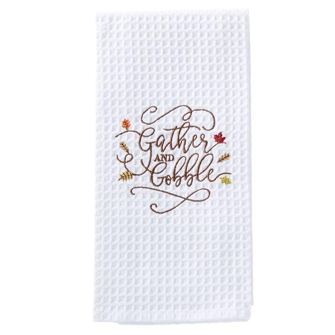 Gather And Gobble Waffle Weave Tea Towel