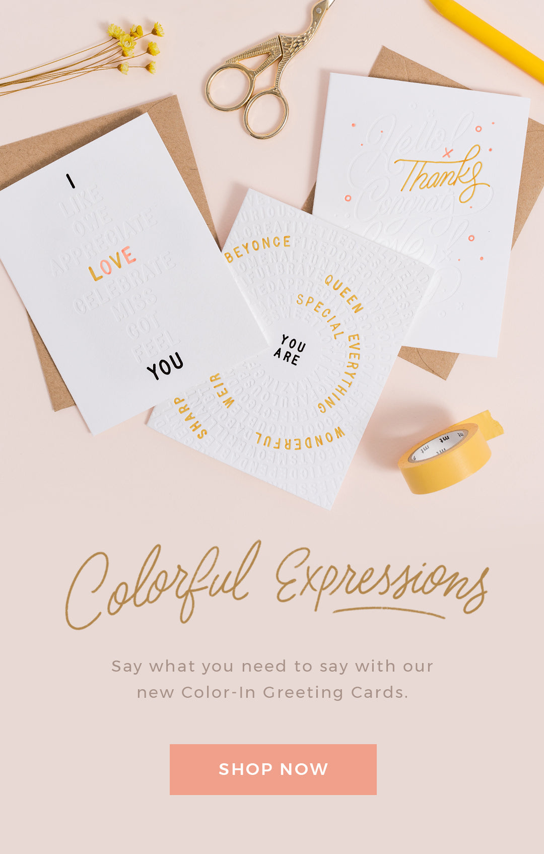 Shop Color-In Greetings Cards by Letterfolk